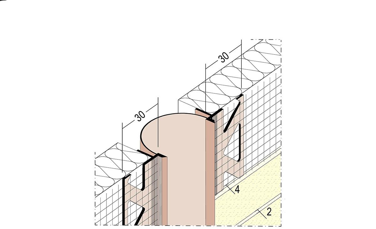 Dehnfugenprofil, Schlaufenprofil Nr. 30351 für fachgerechte Trenn- und Bewegungsfugen. Für Flächen und Eckausbildung erhältlich für 6 - 10 mm Putzdicke