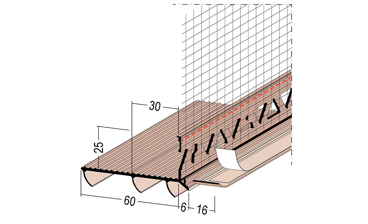 Das Bodenanschlussprofil kann einfach zwischen Wärmedämmungen und z. B. vorhandenen Belägen eingeschoben und mittels Sollbruchstelle im Einschubschänkel von 60 auf 30 mm angepasst werden.