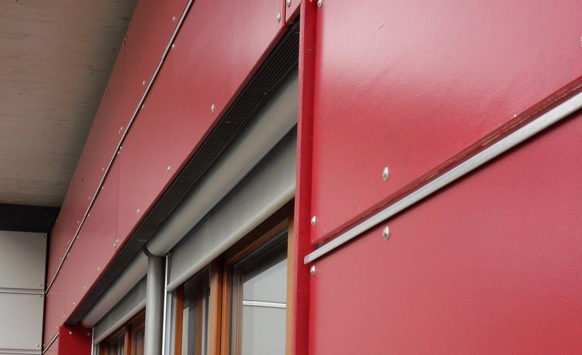 vorgehängten, hinterlüfteten Fassade mit Protektor Kantenprofilen