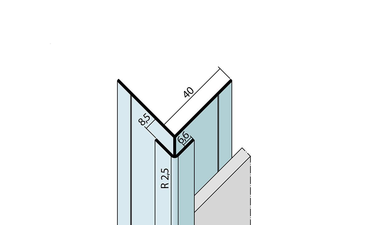 Kantenprofil mit Schnittkantenüberdeckung aus Aluminium