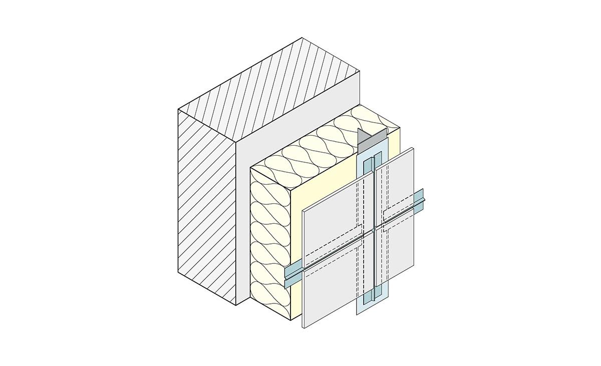 Detailzeichnung Sickenprofil Protektor Fassadengestaltung