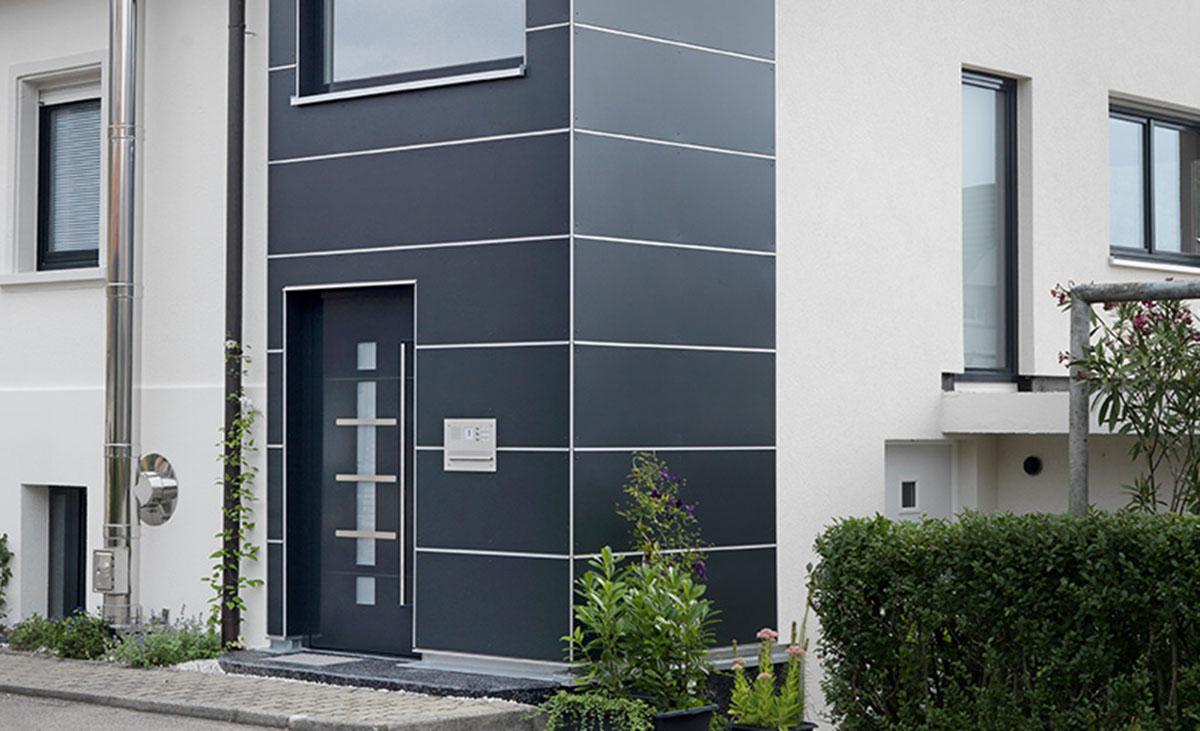 Anwendung Kantenprofile mit Schnittkantenüberdeckung Protektor Fassadengestaltung