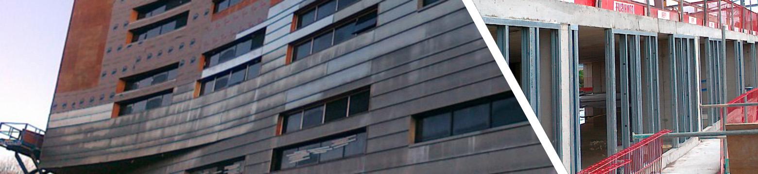 Fassadenausfachung gibt einem Bürogebäude seine moderne Außenfassade.