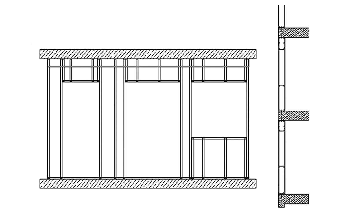 Moderne Fassade aus individuellen Stahlleichtbau Ausfachungen