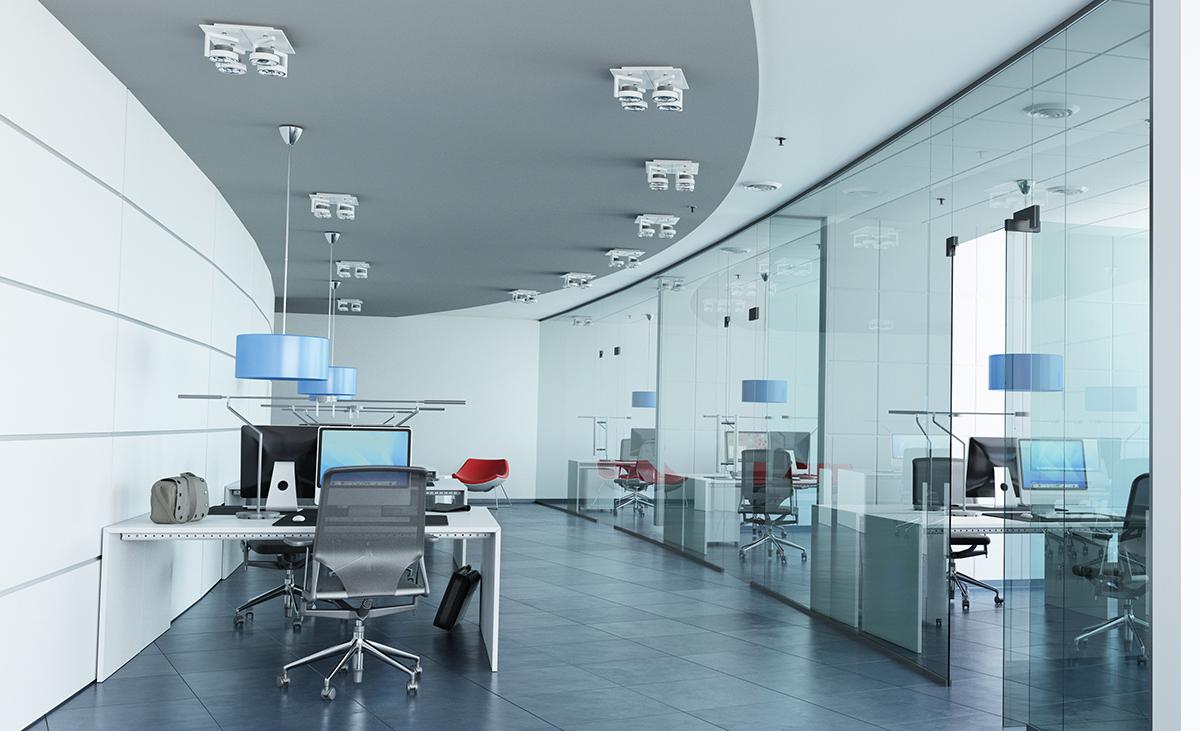 Fertiggestellter ThinkTank in Stahlleichtbauweise Raum in Raum