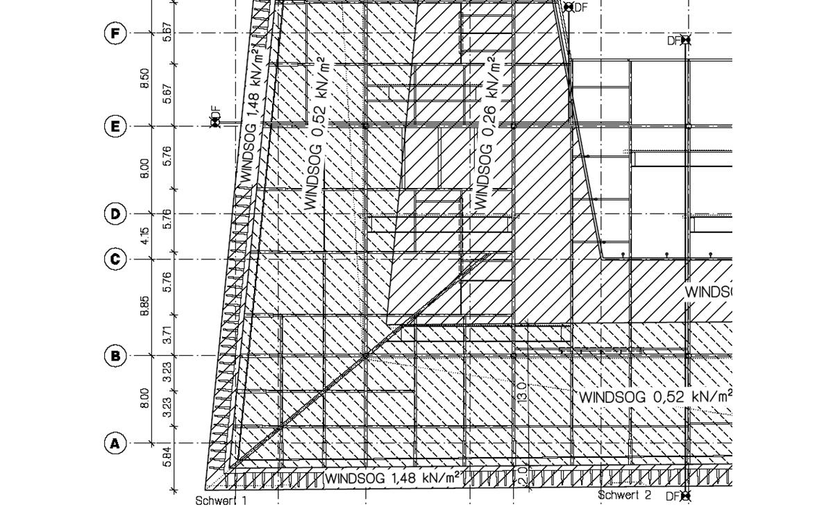 Detail Planungszeichnung Weitspannträger Außendecke