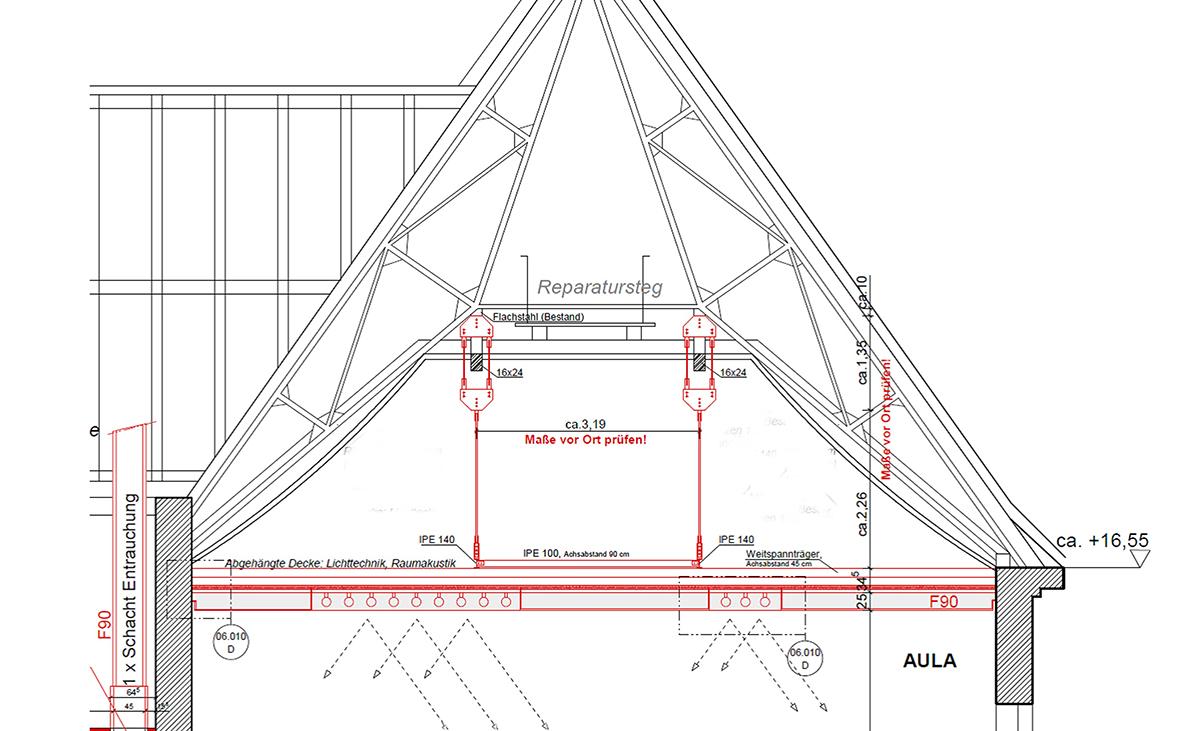 Planung einer Decke aus Protektor Weitspannträgern edificio.