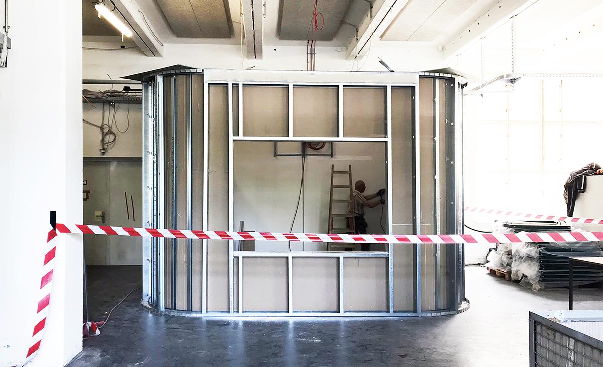 Büroraum des BHW im Rohbau in Stahlleichtbauweise