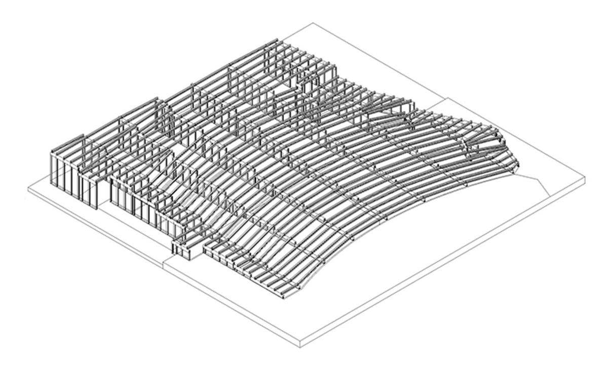 Planung einer Tribüne mit Stahlleichtbau von Protektor